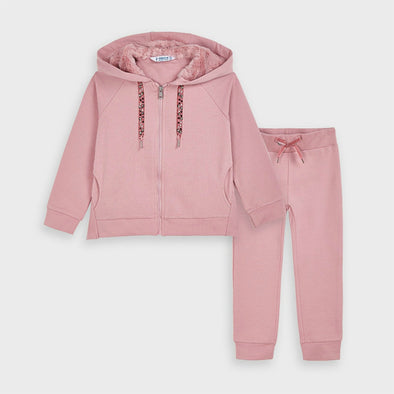 Honeypiekids | Mayoral Girls Pink Faux Fur Hooded Tracksuit