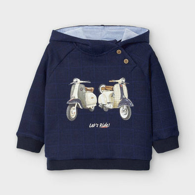 Honeypiekids | Mayoral Baby and Toddler Boys Navy Motorcycle Motif Hooded Sweatshirt