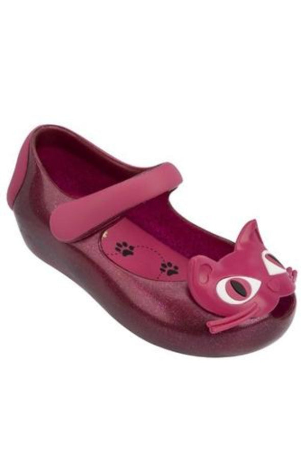 Honeypiekids | Mini Melissa UltraGirl II Pink Glitter Cat Shoes