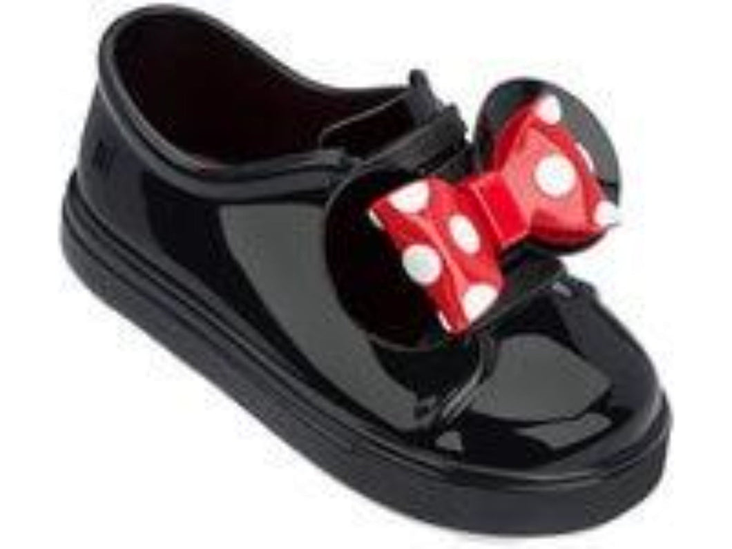 Mini Melissa Toddler's Minnie Slip-On Sneakers in Black Patent Leather | Honeypiekids