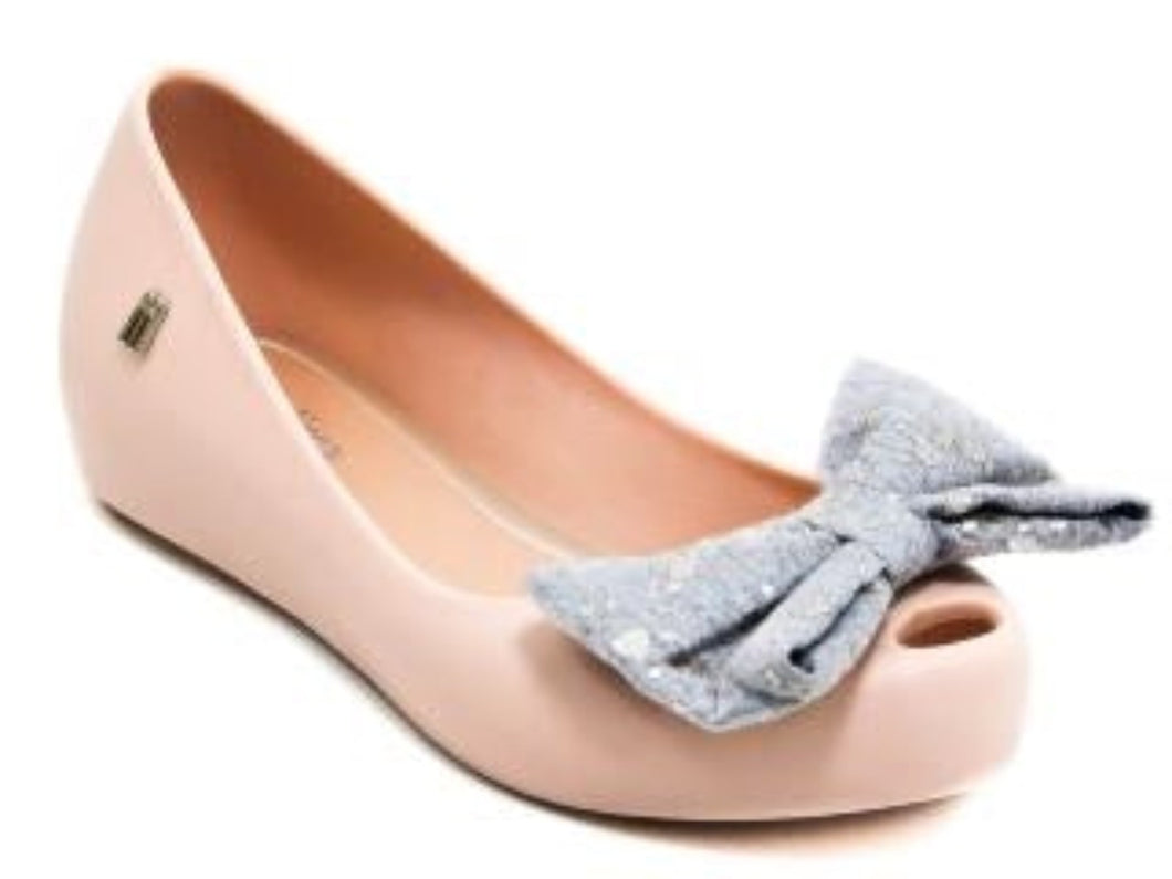honeypiekids | Mini Melissa Ultragirl Sweet III Pink with Silver Bow Shoes