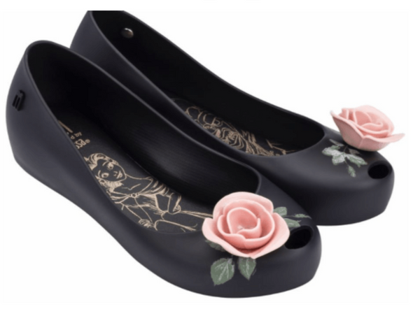 Honeypiekids | Mini Melissa Ultra Girl Beauty & the Beast Rose Shoes in Black and Pink