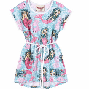 Paper Wings Mermaids Girls Tee Dress - Honeypiekids.com