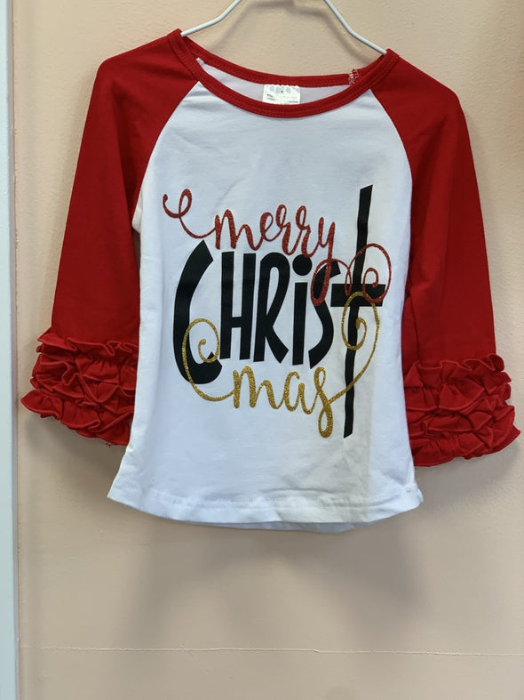 Honeypiekids | Merry CHRISTmas Ruffled Long Sleeve Shirt