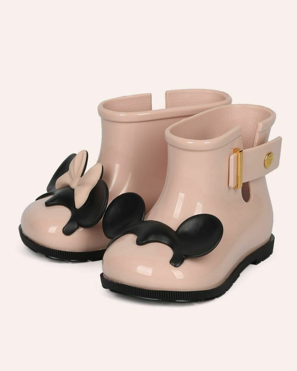 honeypiekids | Mini Melissa Girls Pink and Black Sugar Rain Disney Twins Rain Boot.