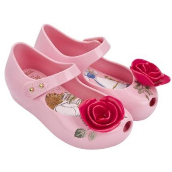 Honeypiekids | Mini Melissa Ultra Girl Beauty and the Beast Toddler Rose Shoes in Pink and Red