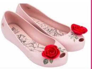 Mini Melissa Ultra Girl Beauty & the Beast Rose Shoes in Pink & Red
