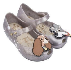 honeypiekids | Mini Melissa Silver Glitter Lady And The Tramp Shoes
