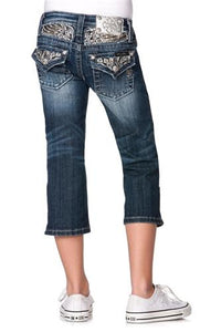 NEW Miss Me Girls Winged Yoke Denim Capri Jeans - Honeypiekids.com