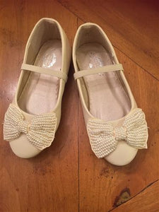 honeypiekids | Miss Rose Sister Violet Cream Pearl Bow Cinderella Shoes