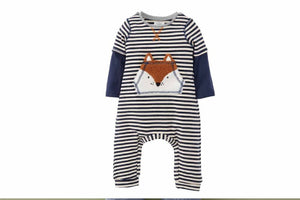 Honeypiekids | Mudpie Infant Boys Striped Fox One Piece