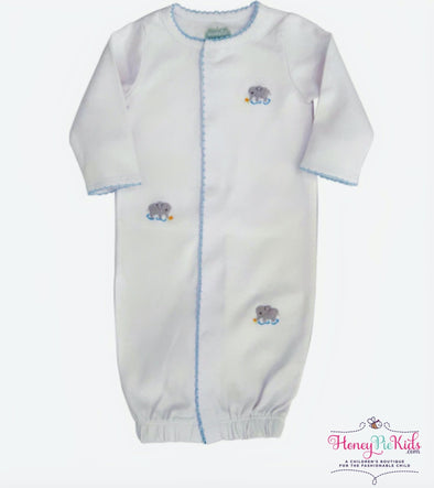 honeypiekids | Mudpie Infant French Knot Elephant Sleep Gown.