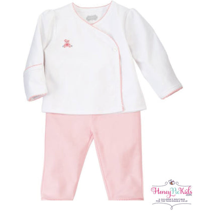 honeypiekids | Mudpie Infant French Knot Pink Bear 2 Piece Kimono Set.
