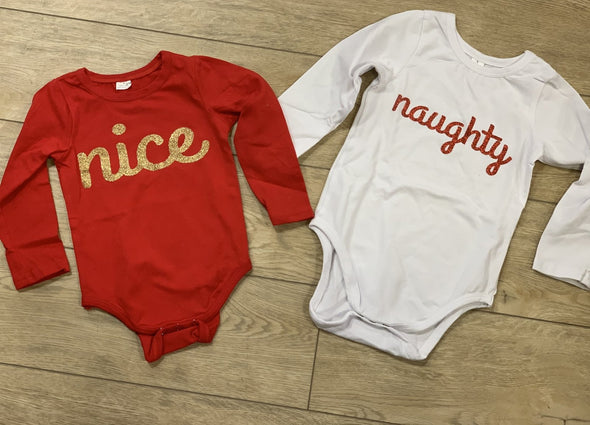 Honeypiekids | Naughty or Nice Long Sleeve Infant Onesie