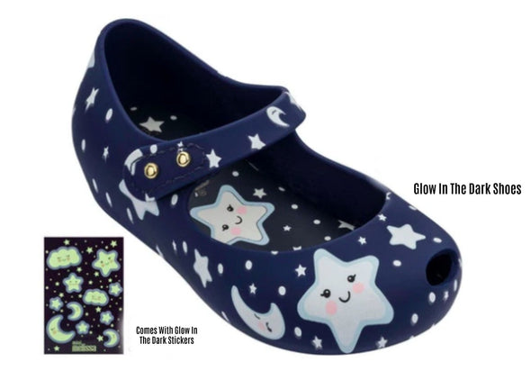 Honeypiekids | Mini Melissa Ultra25 Navy Glow In The Dark Stars MaryJane Shoes