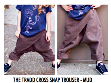 honeypiekids | Neve/Hawk Maroon The Tradd Cross Snap Trouser in Mud Color