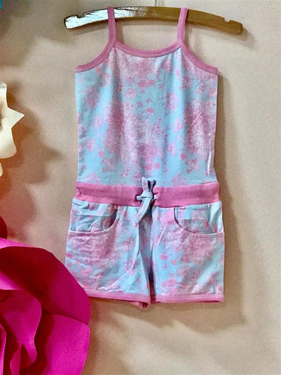Honeypiekids | Ooh La La Couture Pink and Blue Toile Shorts Romper