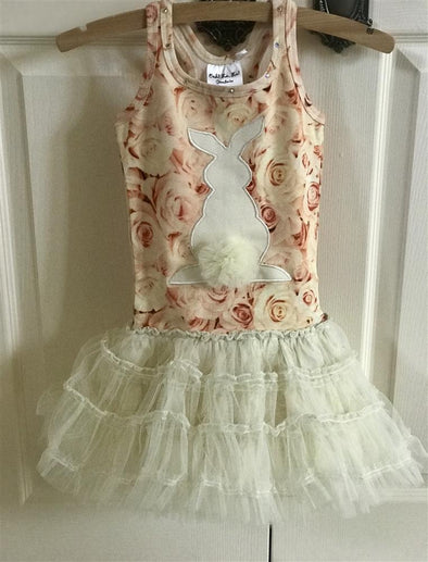 Honeypiekids | Ooh La La Couture Bunny Champagne Floral Dress