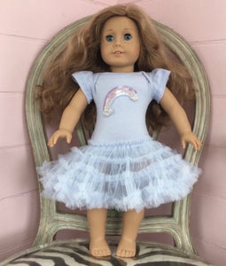 Honeypiekids | Ooh La La Couture Blue Rainbow Dress for DOLLS