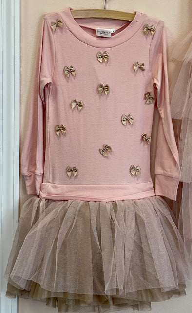 Honeypiekids | Ooh La La Couture Pink and Champagne Little Bows Long Sleeve Dress