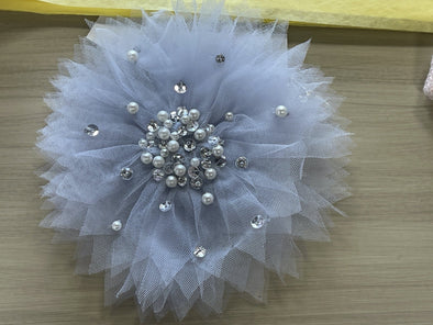 Honeypiekids | Ooh La La Couture Sky Blue Crystals & Pearls Flower Hair & Strap Clip