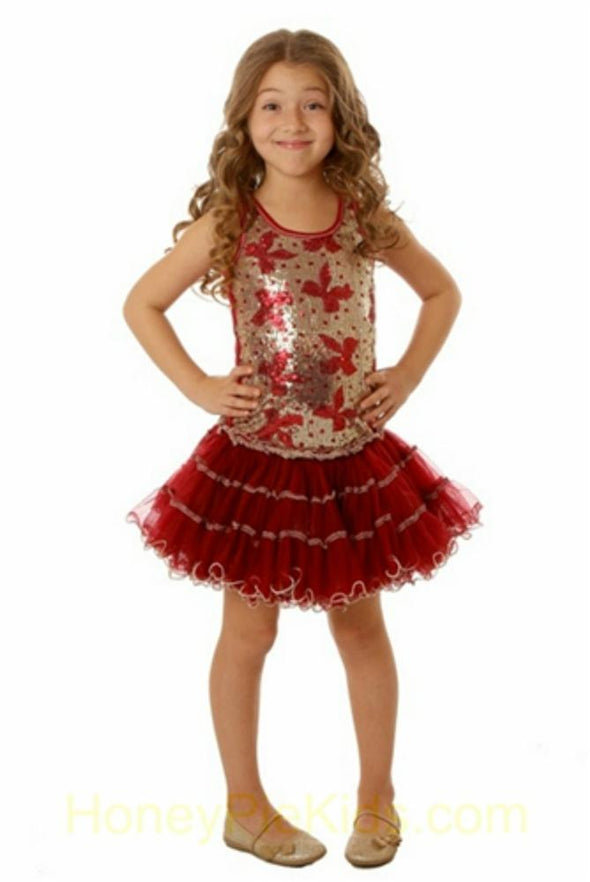 Honeypiekids | Ooh La La Couture Red Bows Sequin Wiretrim Poufier Dress