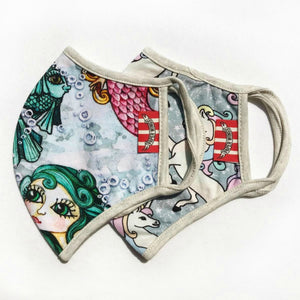 Paper Wings Double Layer Organic Cotton Jersey ADULTS Face Mask - MERMAIDS AND PASTEL UNICORNS | Honeypiekids