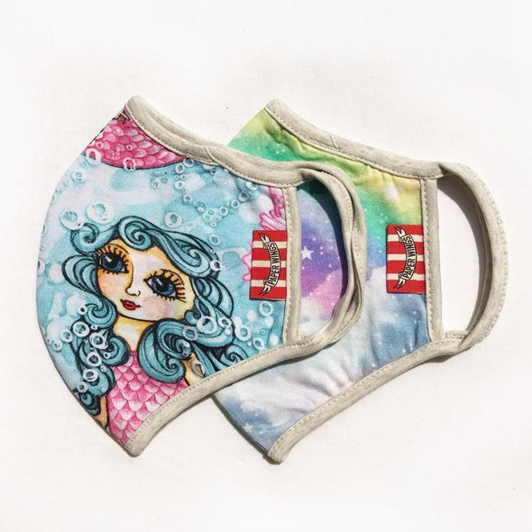 Honeypiekids | Paper Wings Double Layer Organic Cotton Jersey ADULTS Face Mask - MERMAIDS AND RAINBOW CLOUDS