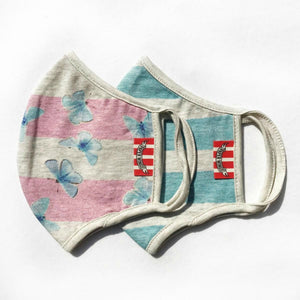 Paper Wings Double Layer Organic Cotton Jersey ADULTS Face Mask - PINK/BLUE BUTTERFLIES AND GREEN STRIPE | Honeypiekids