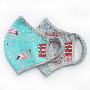 Paper Wings Double Layer Organic Cotton Jersey KIDS Face Mask - FLAMINGOS AND SWANS | Honeypiekids