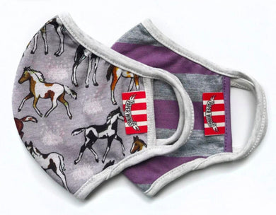 Paper Wings Double Layer Organic Cotton Jersey KIDS Face Mask - Pinto Foals/Purple Grey Stripe | Honeypiekids