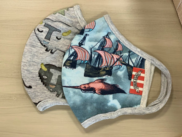 Honeypiekids | Paper Wings Double Layer Organic Cotton Jersey KIDS Face Mask - SAILING SHIPS AND WILD ANIMAL