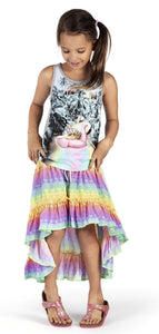 Honeypiekids | Paper Wings Rainbow High Low Maxi Skirt