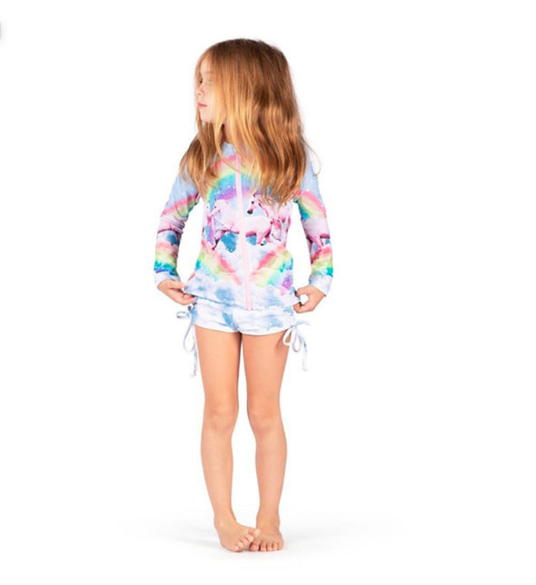 Honeypiekids | Paper Wings Rainbow Unicorn Rashie Swim Set