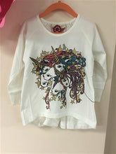 Load image into Gallery viewer, Honeypiekids | Paper Wings Unicorn Stars Raglan Tee