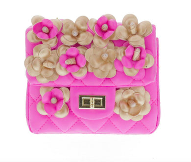 Honeypiekids | Doe a Dear Pink Flower Square Quilted Bag with Turn Clasp & Cross Body Chain