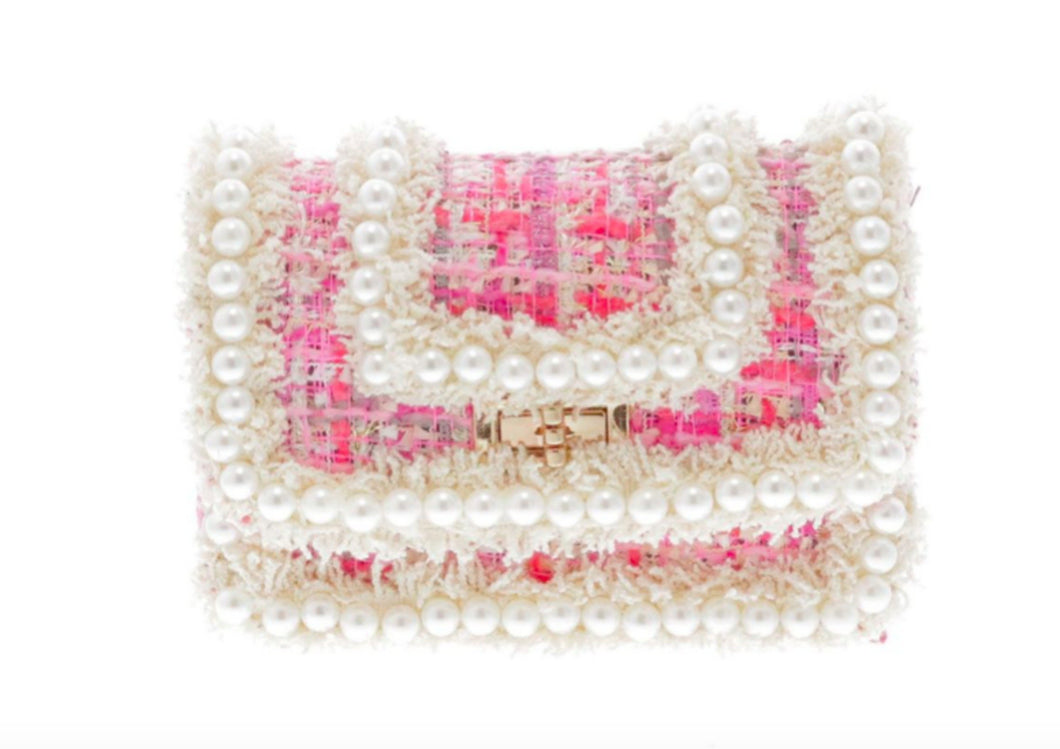 Doe a Dear Pink Tweeted Crossbody Bag with All Around Pearl Detailing - Honeypiekids.com