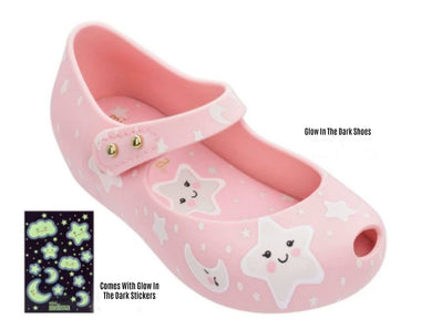 Mini Melissa Ultra25 Pink Glow In The Dark Stars MaryJane Shoes | Honeypiekids