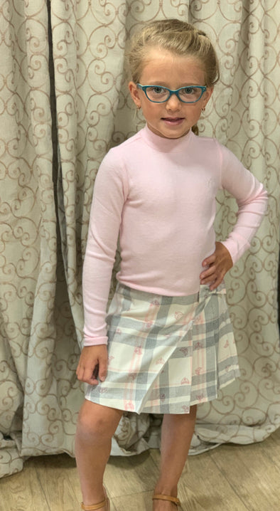 Honeypiekids | Lili Gaufrette Girls Pink Plaid Long Sleeve Dress