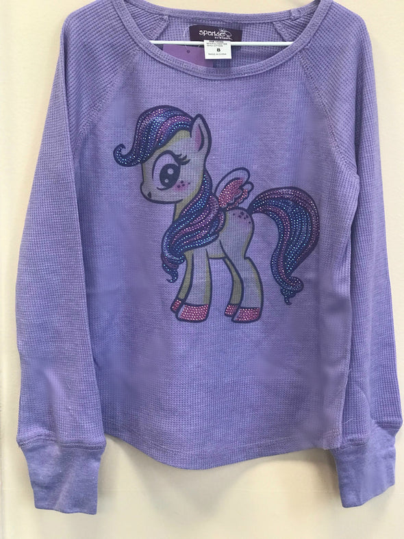 Honeypiekids | Sparkle by Stoopher Lavender Pony Long Sleeve Thermal Shirt