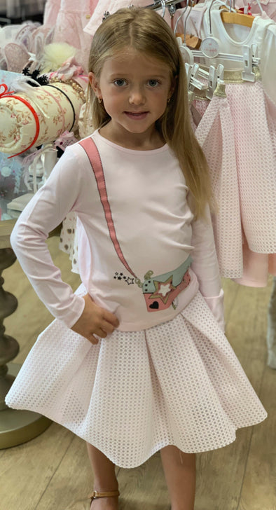 Honeypiekids | Lili Gaufrette Girls Pink Purse Long Sleeve Shirt