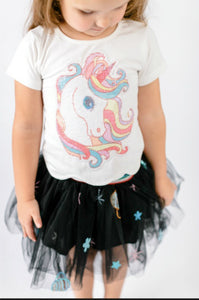 honeypiekids | Doe a Dear White Rainbow Unicorn Hair Tee