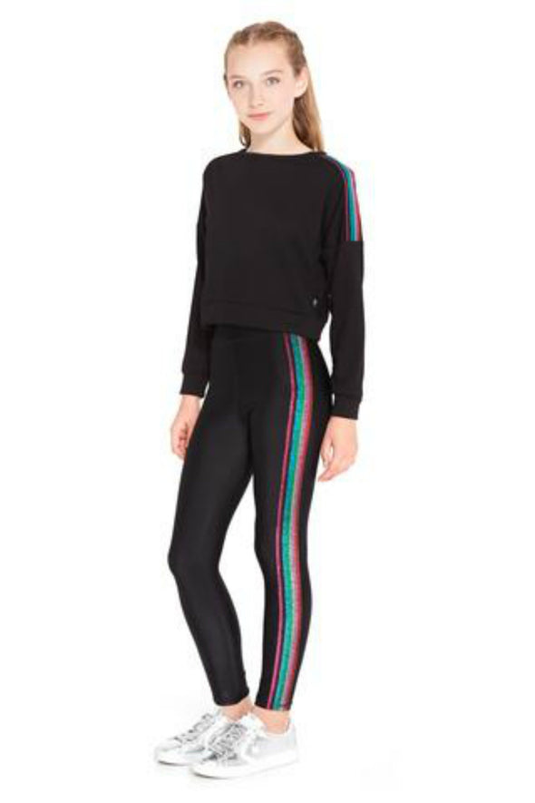 Honeypiekids | Terez Girls Metallic Rainbow Stripe Leggings