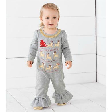 Mudpie Gray Jingle Bells Reindeer Sleigh One Piece Outfit | Honeypiekids
