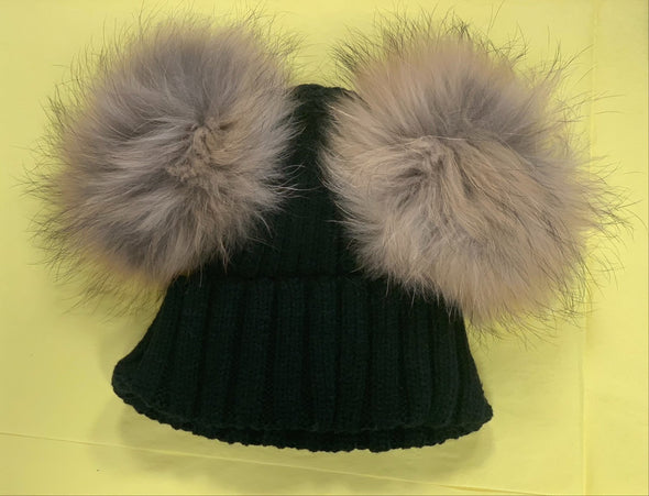 honeypiekids | Ribbed Cuffed Double Fur Pom Hat Fits Kids and Adults.