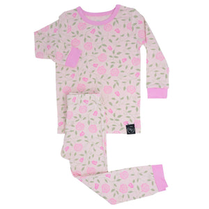 honeypiekids | Sweet Bamboo Long Sleeve & Long Pant Pajamas In RED ROSES Pattern