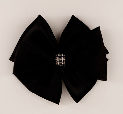 honeypiekids | Sienna Likes To Party Girls The Hepburn Satin Designer Bow Hair Clip in Black.