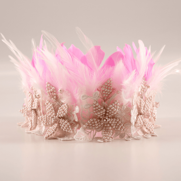 honeypiekids | Sienna Likes To Party Girls The Queen Of The Kingdom Crown Garland In Pink Or White.