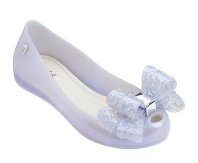 Mini Melissa Ultra Girl Lilac Pearl Shoes With Speckled Silver Bow Shoes | Honeypiekids