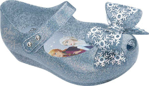 Mini Melissa Frozen Ultra 25 Silver Glitter Bow Mary Jane Shoes | Honeypiekids